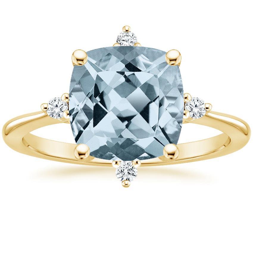 Yellow Gold Aquamarine Luminesce Diamond Ring