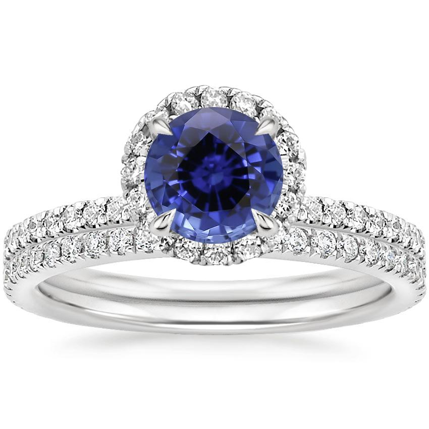 18KW Sapphire Waverly Diamond Bridal Set (2/3 ct. tw.), top view