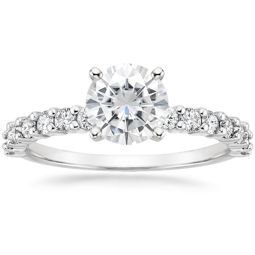 Moissanite Shared Prong Diamond Ring (3/8 ct. tw.) in 18K White Gold