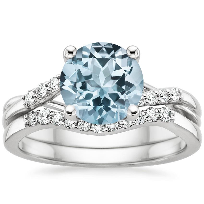 18KW Aquamarine Chamise Diamond Bridal Set, top view