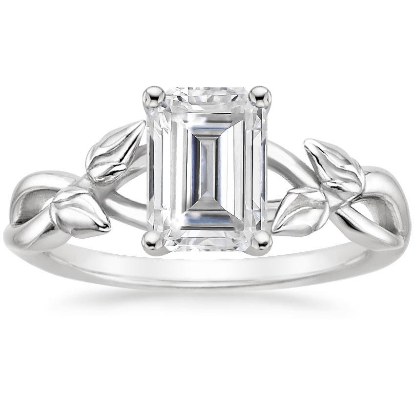 Moissanite Budding Willow Ring in Platinum