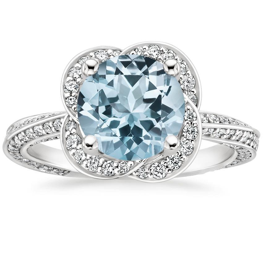 Aquamarine Azalea Diamond Ring (1/2 ct. tw.) in 18K White Gold