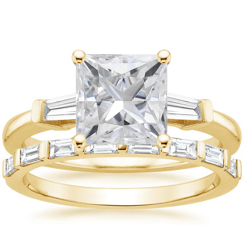 18KY Moissanite Tapered Baguette Diamond Ring (1/5 ct. tw.) with Barre Diamond Ring (1/4 ct. tw.), top view