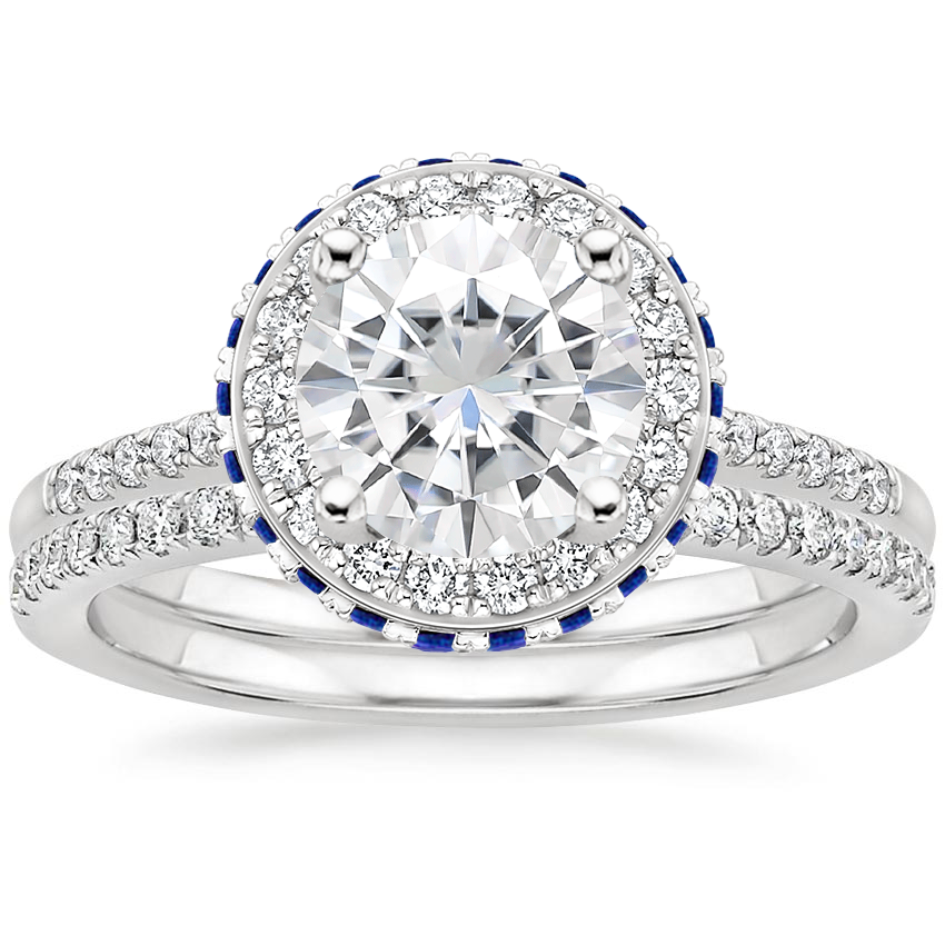 PT Moissanite Circa Diamond Ring with Sapphire Accents with Ballad Diamond Ring (1/6 ct. tw.), top view