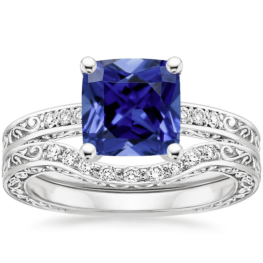 18KW Sapphire Delicate Antique Scroll Contoured Diamond Bridal Set, top view