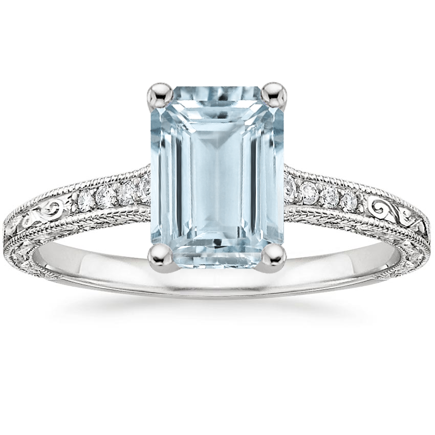 Aquamarine Luxe Hudson Diamond Ring (1/10 ct. tw.) in 18K White Gold