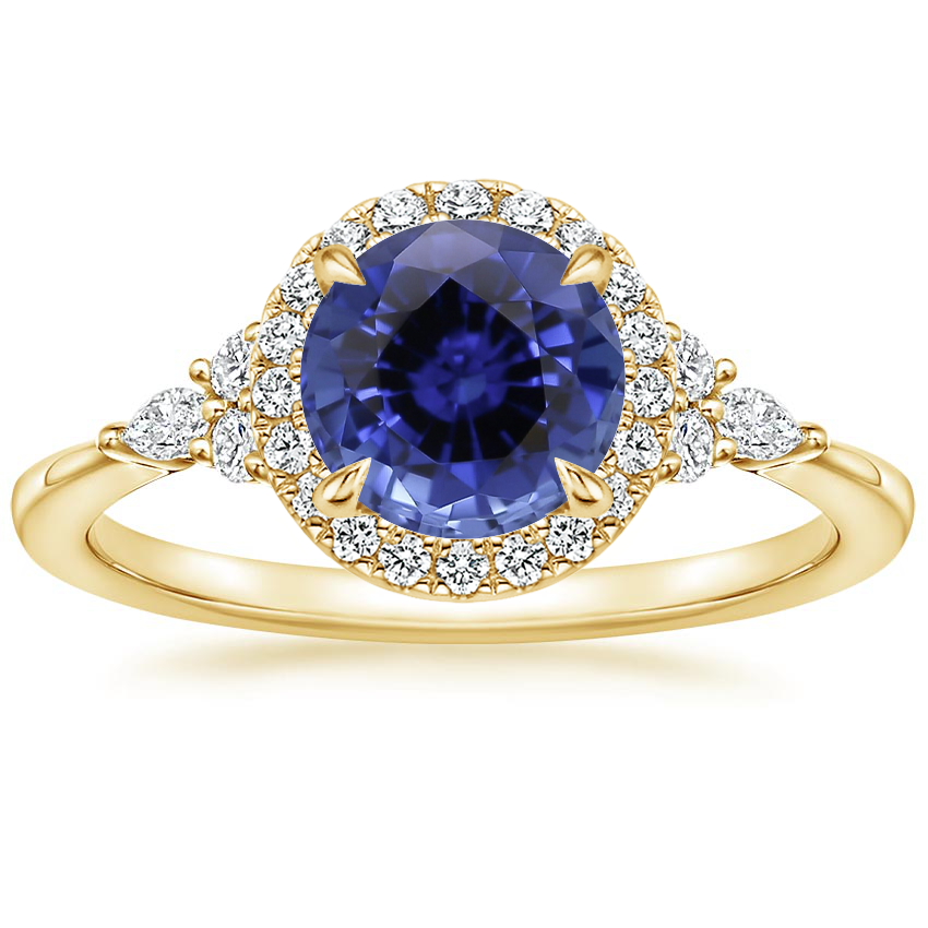 Yellow Gold Sapphire Nadia Halo Diamond Ring (1/4 ct. tw.)