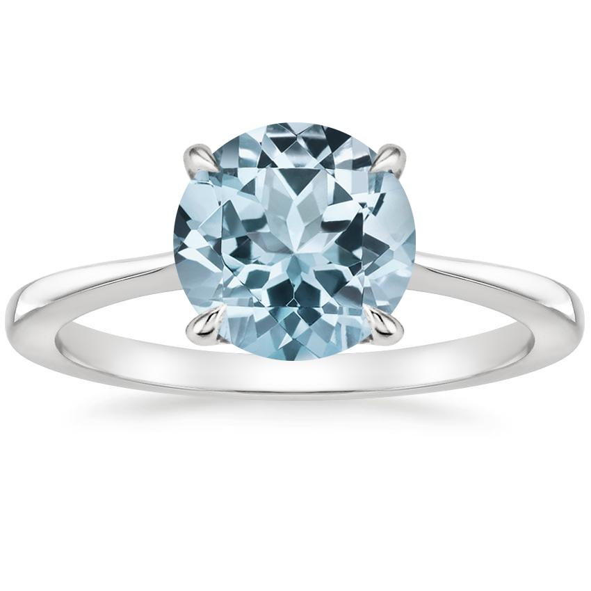 Aquamarine Elle Ring in 18K White Gold