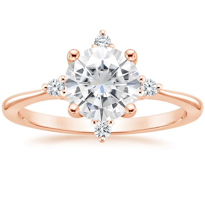 Rose Gold Moissanite Luminesce Diamond Ring