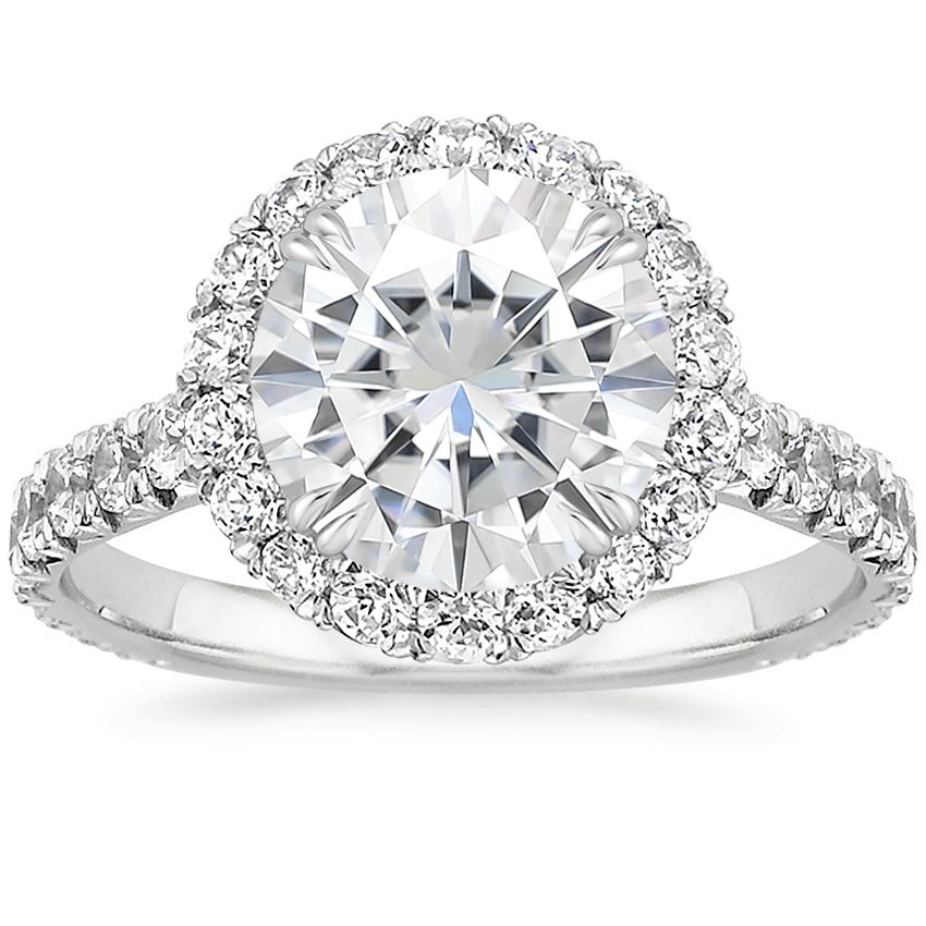 Moissanite Luxe Sienna Halo Diamond Ring (3/4 ct. tw.) in Platinum