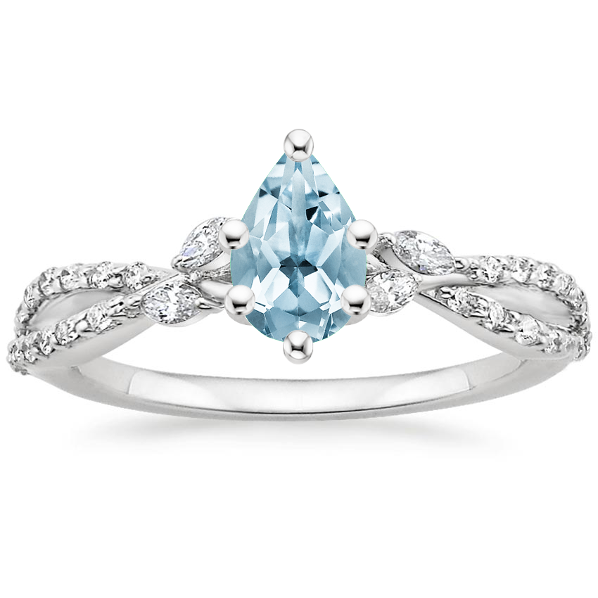 Aquamarine Luxe Willow Diamond Ring (1/4 ct. tw.) in 18K White Gold