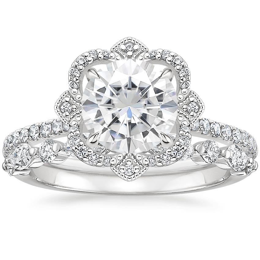 18KW Moissanite Reina Diamond Ring (1/6 ct. tw.) with Versailles Diamond Ring (3/8 ct. tw.), top view