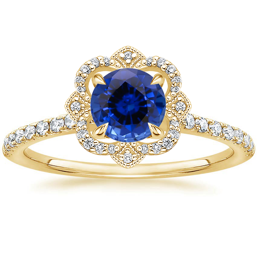 Yellow Gold Sapphire Reina Diamond Ring
