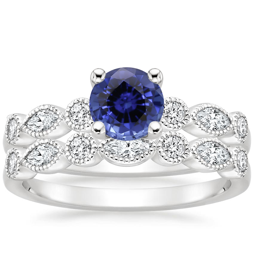 18KW Sapphire Rosalie Diamond Bridal Set (1/2 ct. tw.), top view