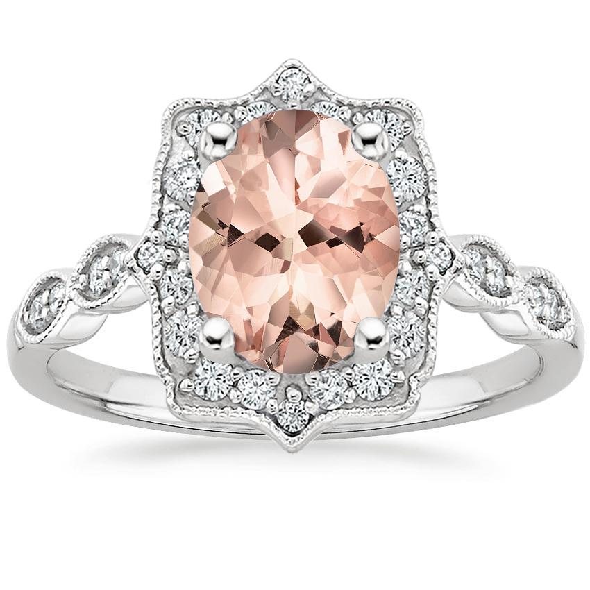 Morganite Cadenza Halo Diamond Ring in Platinum