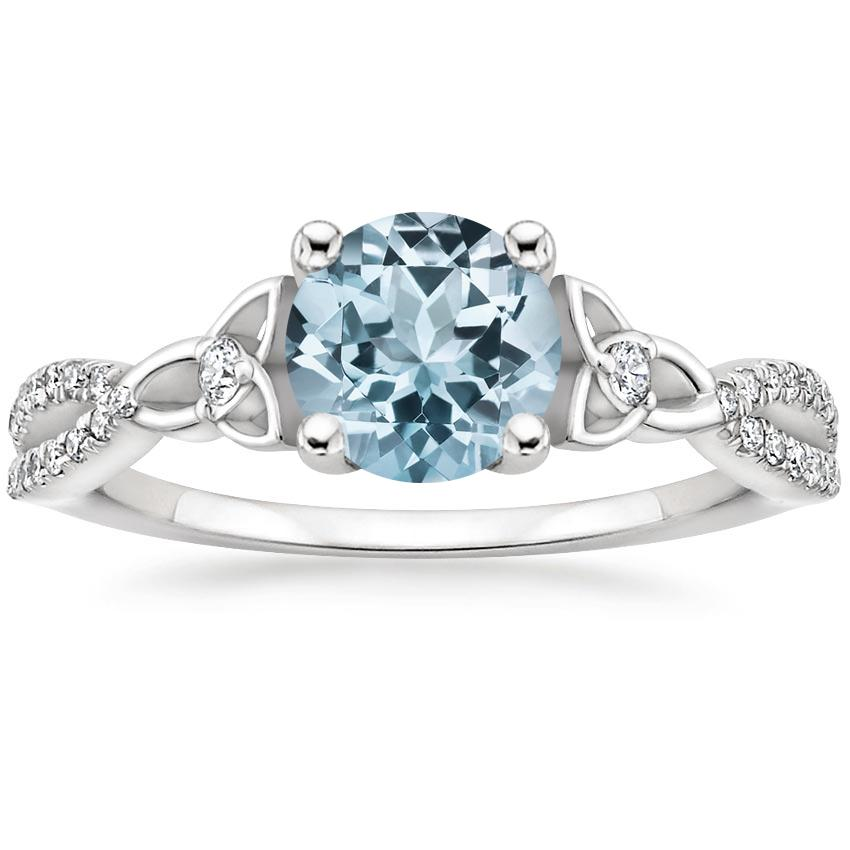 Aquamarine Luxe Entwined Celtic Love Knot Diamond Ring in 18K White Gold