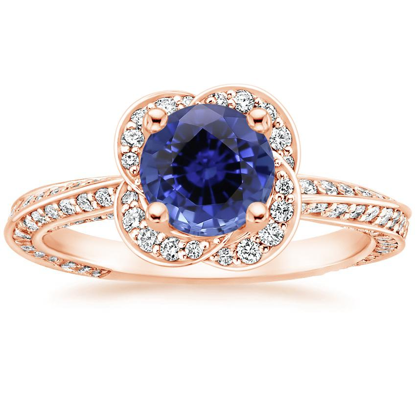 Rose Gold Sapphire Azalea Diamond Ring