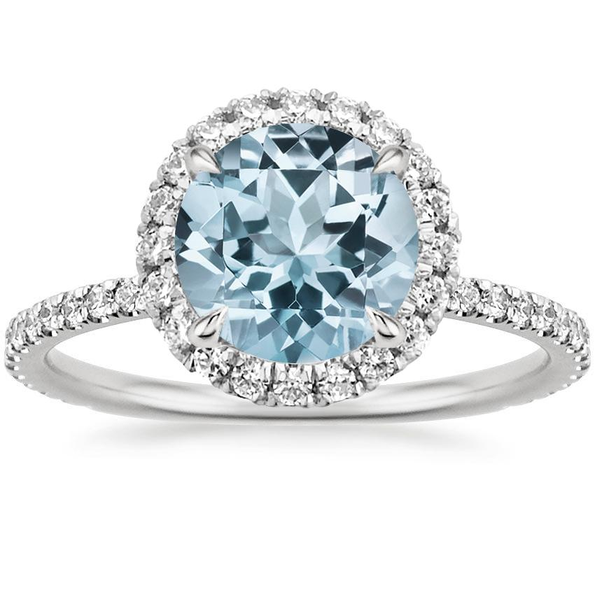 18k white gold aquamarine - Aquamarine Wedding Ring