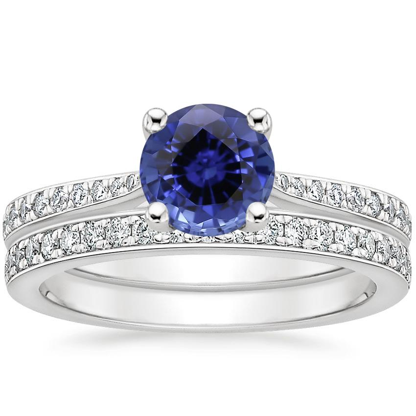 18KW Sapphire Geneva Diamond Bridal Set (1/4 ct. tw.), top view