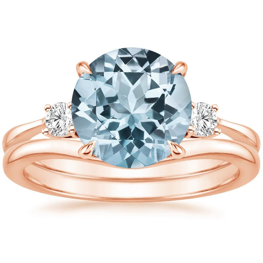 14KR Aquamarine Selene Diamond Ring (1/10 ct. tw.) with Petite Curved Wedding Ring, top view