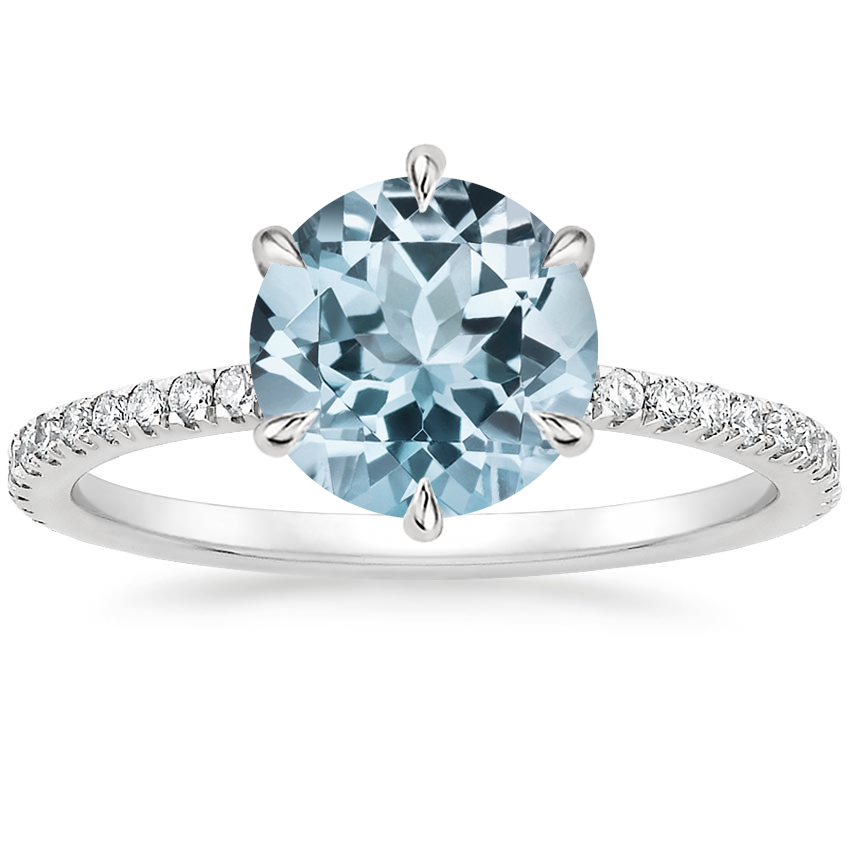 Aquamarine Karina Diamond Ring (1/3 ct. tw.) in 18K White Gold