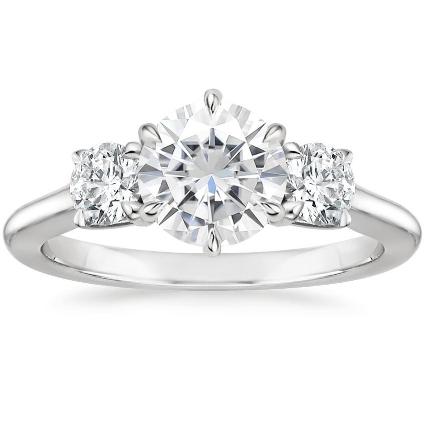 Moissanite Three Stone Catalina Diamond Ring (1/2 ct. tw.) in 18K White Gold