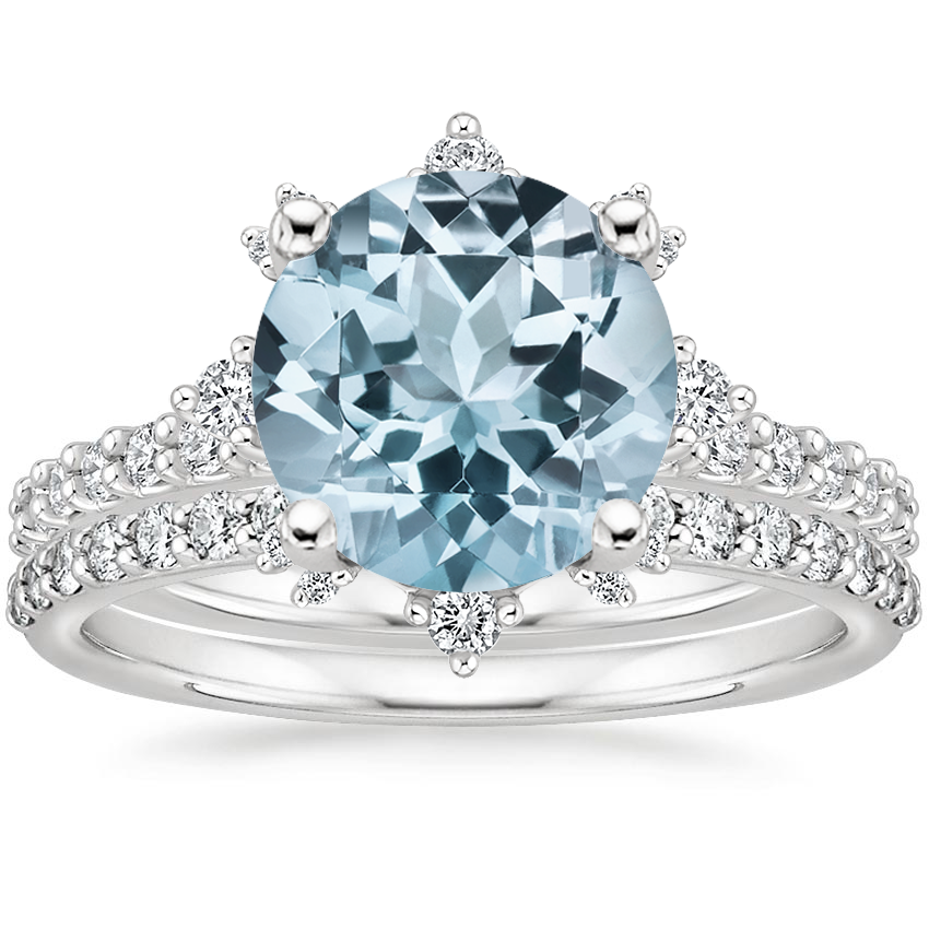18KW Aquamarine Arabella Diamond Bridal Set (1/2 ct. tw.), top view
