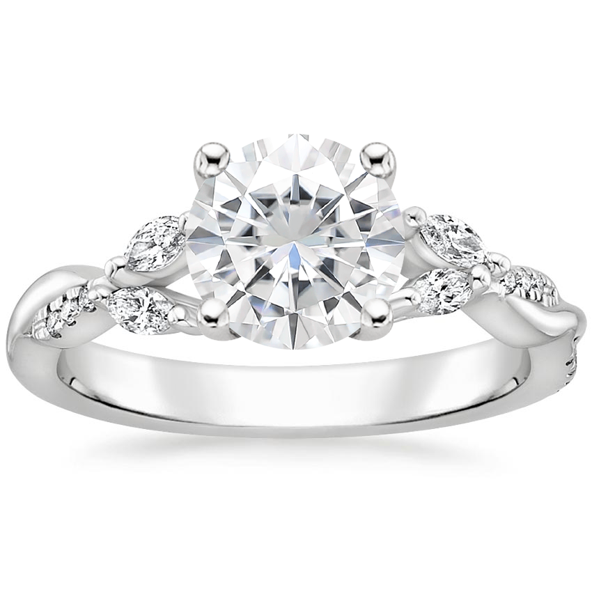 Moissanite Cassia Diamond Ring in 18K White Gold