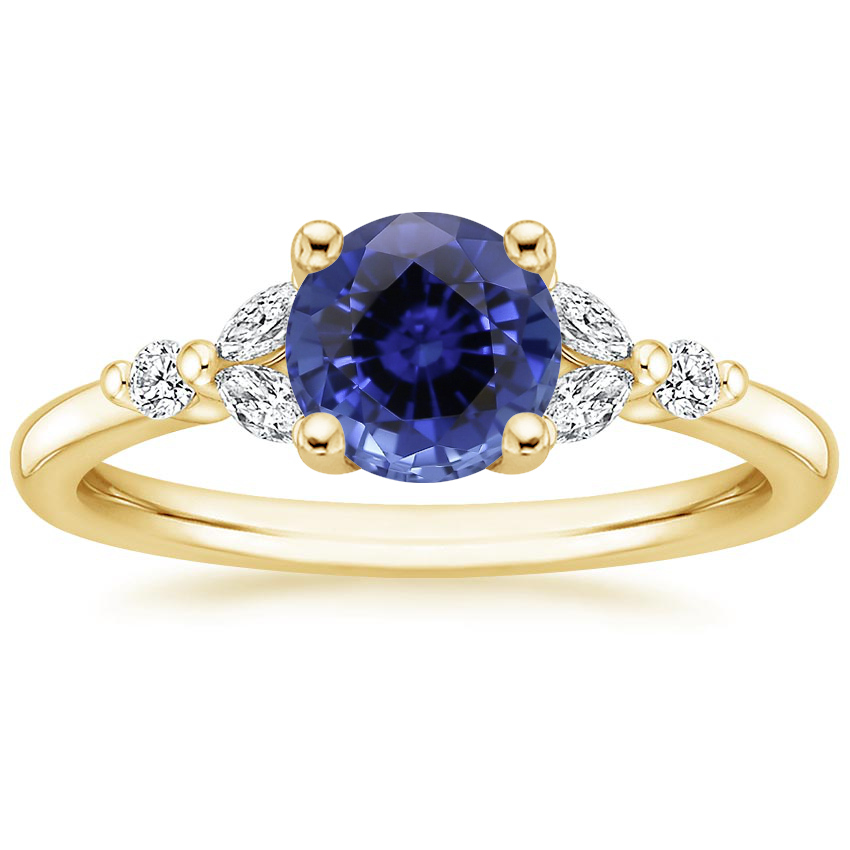 Yellow Gold Sapphire Verbena Diamond Ring