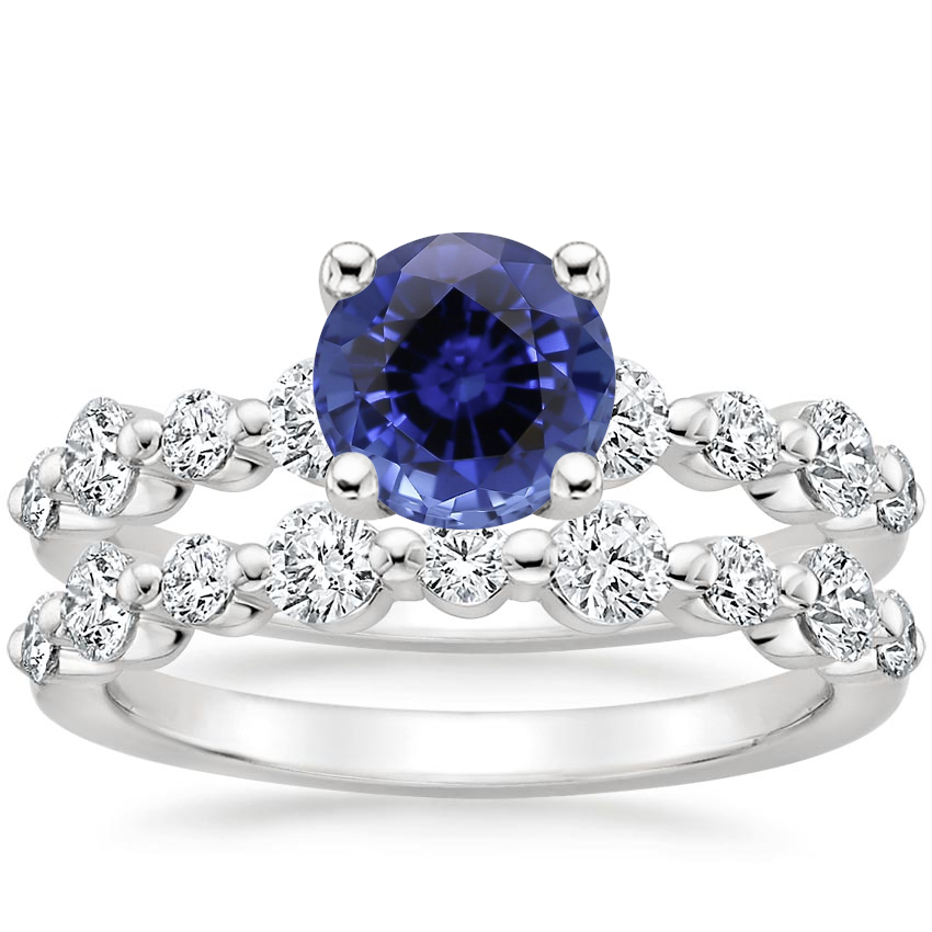 18KW Sapphire Bordeaux Diamond Bridal Set, top view