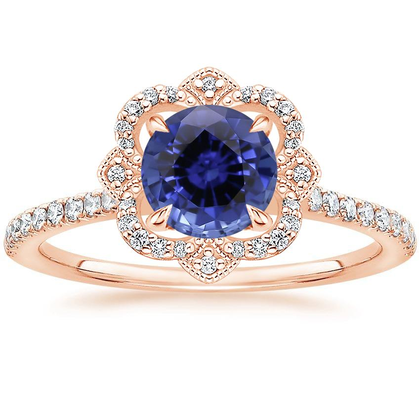 Rose Gold Sapphire Reina Diamond Ring