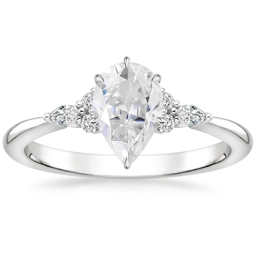 Moissanite Nadia Diamond Ring in 18K White Gold