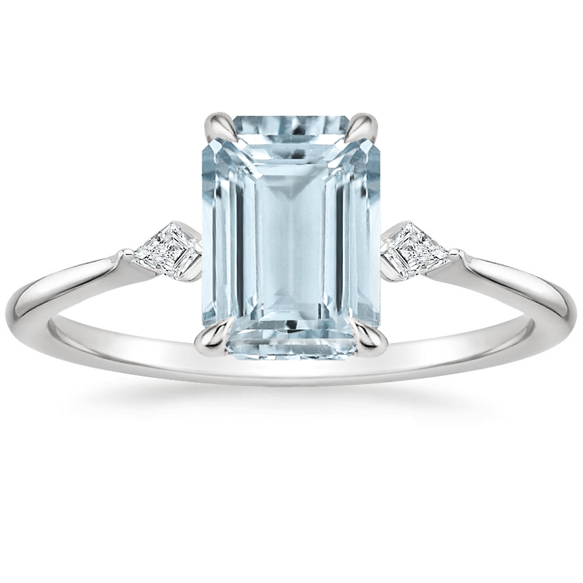 Aquamarine Cometa Diamond Ring in 18K White Gold