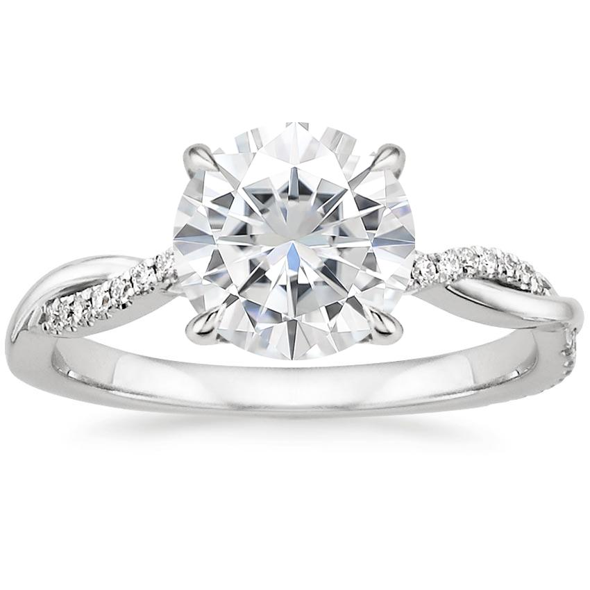 Moissanite Petite Twisted Vine Diamond Ring in 18K White Gold