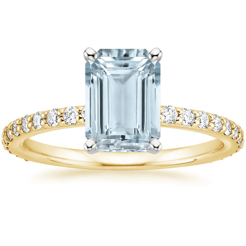 Yellow Gold Aquamarine Luxe Petite Shared Prong Diamond Ring (1/3 ct. tw.)