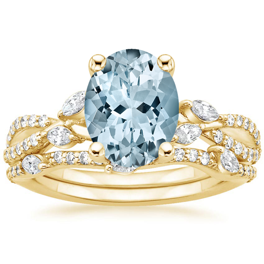 18KY Aquamarine Luxe Willow Bridal Set (1/2 ct. tw.), top view
