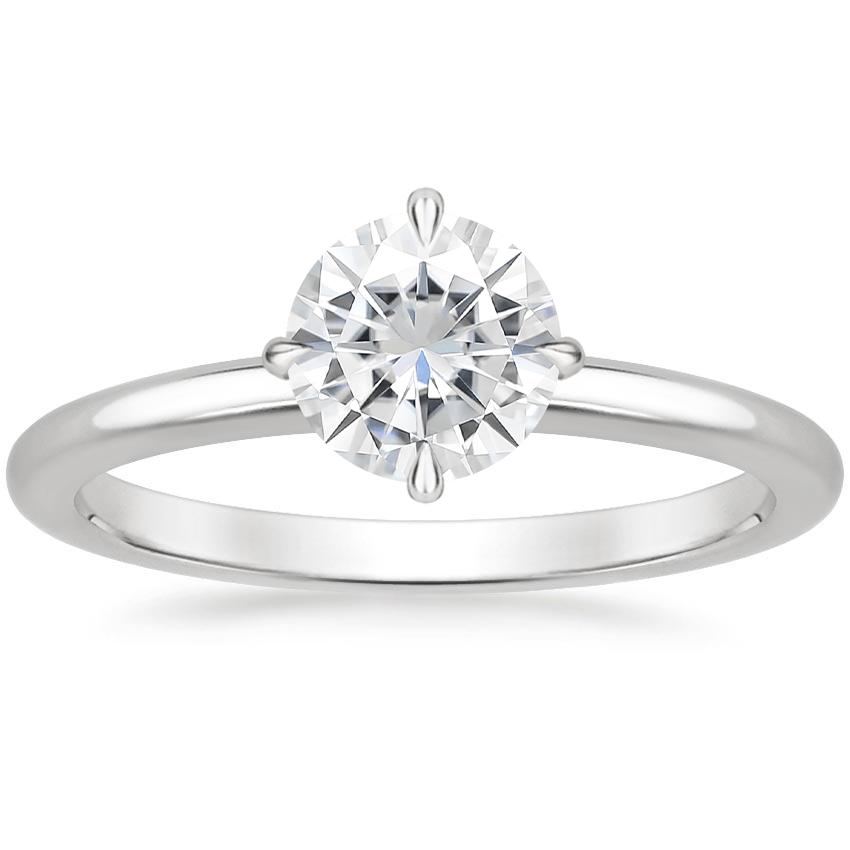 Moissanite North Star Ring in 18K White Gold