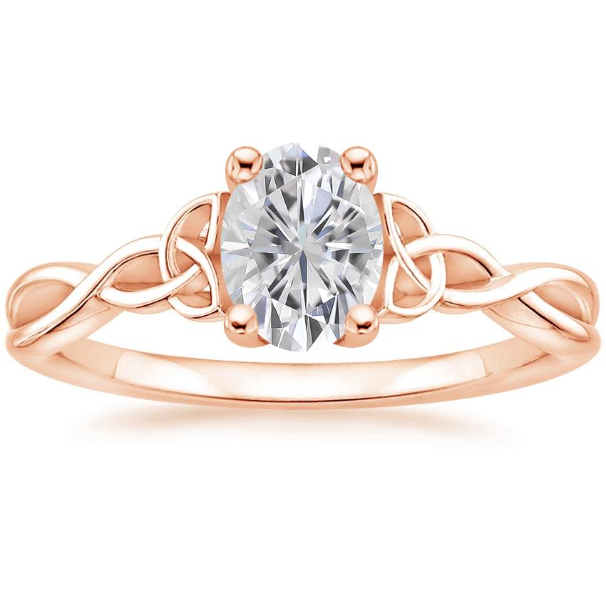 Rose Gold Moissanite Entwined Celtic Love Knot Ring