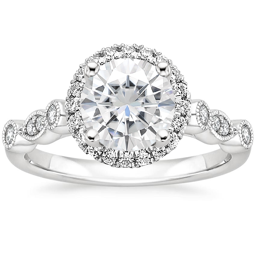 Moissanite Tiara Halo Diamond Ring (1/4 ct. tw.) in 18K White Gold