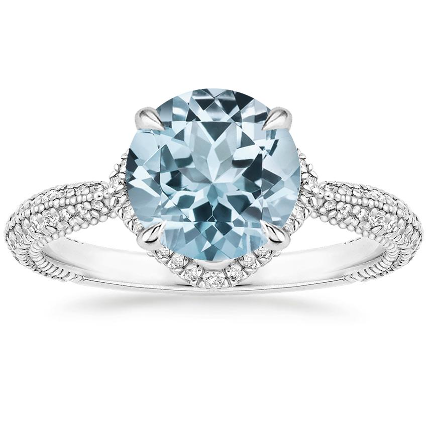 Aquamarine Aster Diamond Ring (1/3 ct. tw.) in Platinum