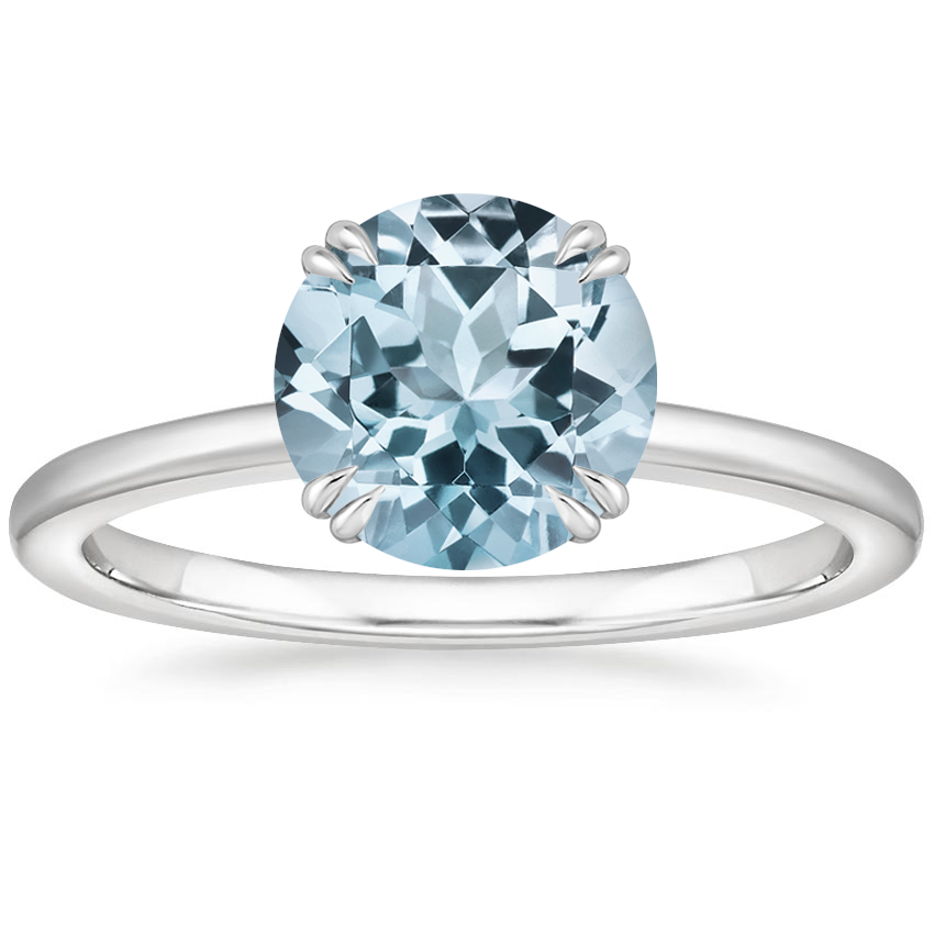 Aquamarine Sora Diamond Ring in 18K White Gold