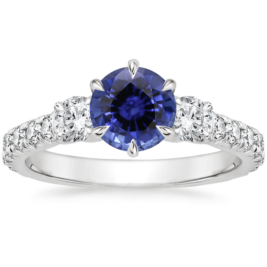 Sapphire Gramercy Diamond Ring (3/4 ct. tw.) in 18K White Gold