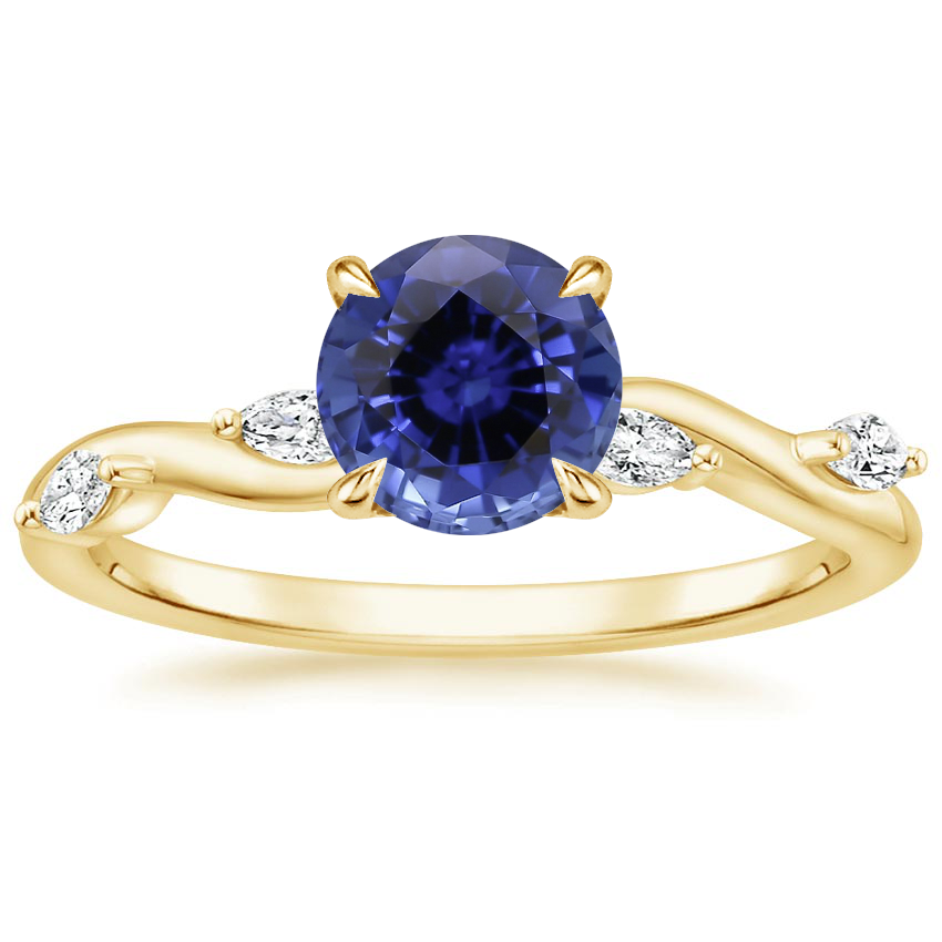 Yellow Gold Sapphire Winding Willow Diamond Ring