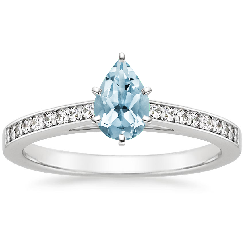 Aquamarine Starlight Diamond Ring in 18K White Gold