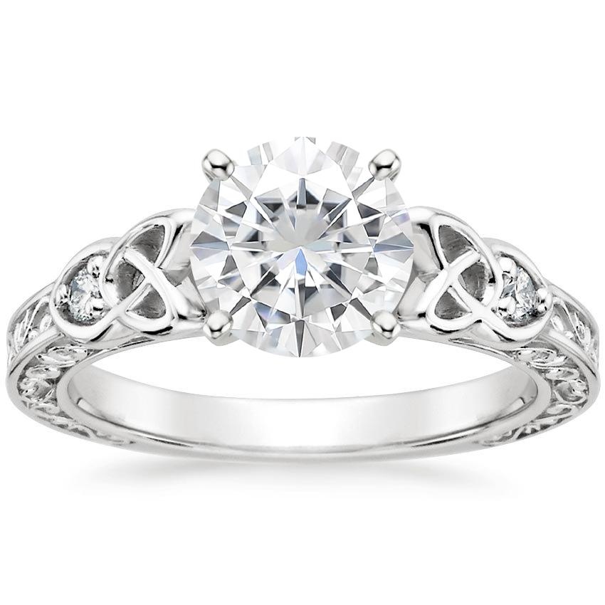 Moissanite Aberdeen Diamond Ring in 18K White Gold