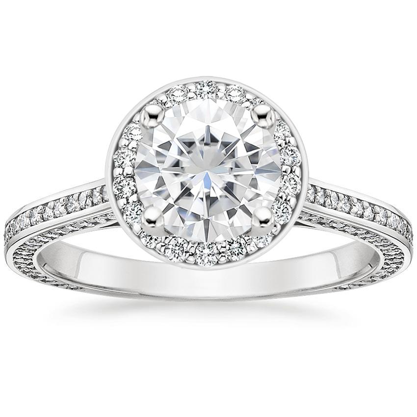 Moissanite Enchant Halo Diamond Ring in 18K White Gold