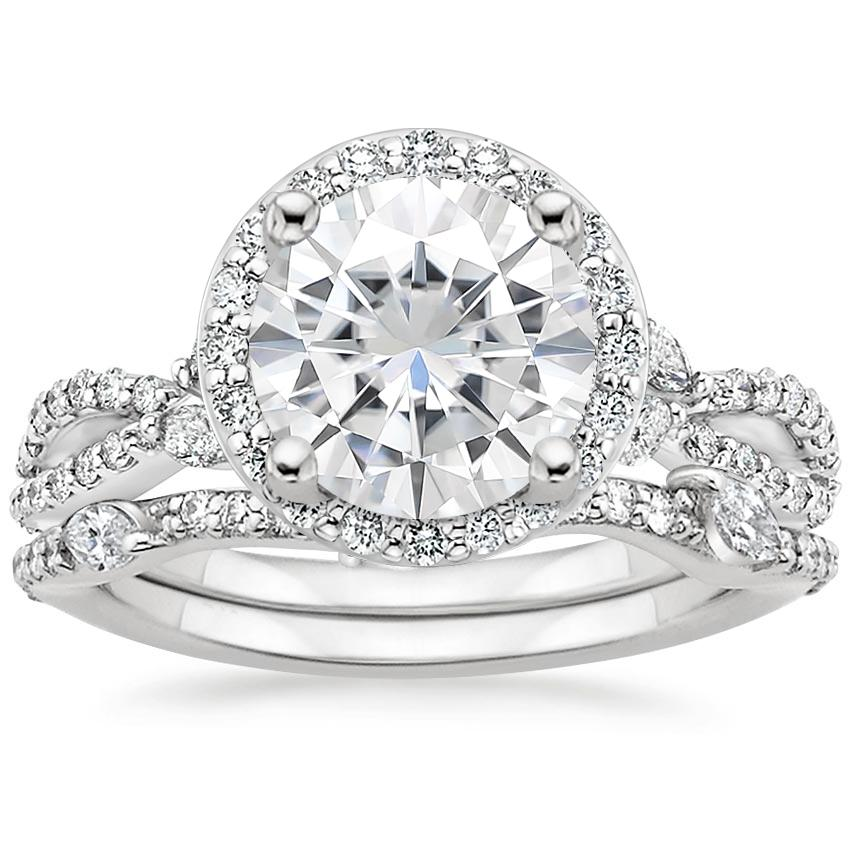 18KW Moissanite Luxe Willow Halo Diamond Bridal Set (5/8 ct. tw.), top view