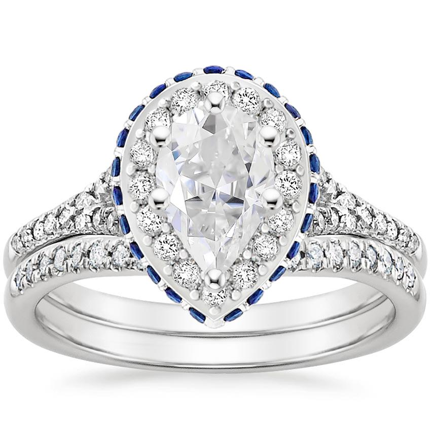 PT Moissanite Circa Diamond Bridal Set with Sapphire Accents (1/3 ct. tw.), top view