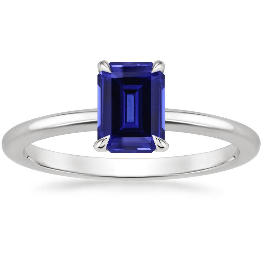 Sapphire Secret Halo Diamond Ring in 18K White Gold