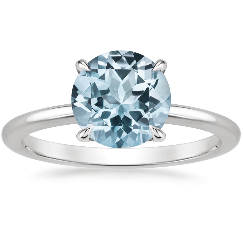 Aquamarine Everly Diamond Ring in 18K White Gold